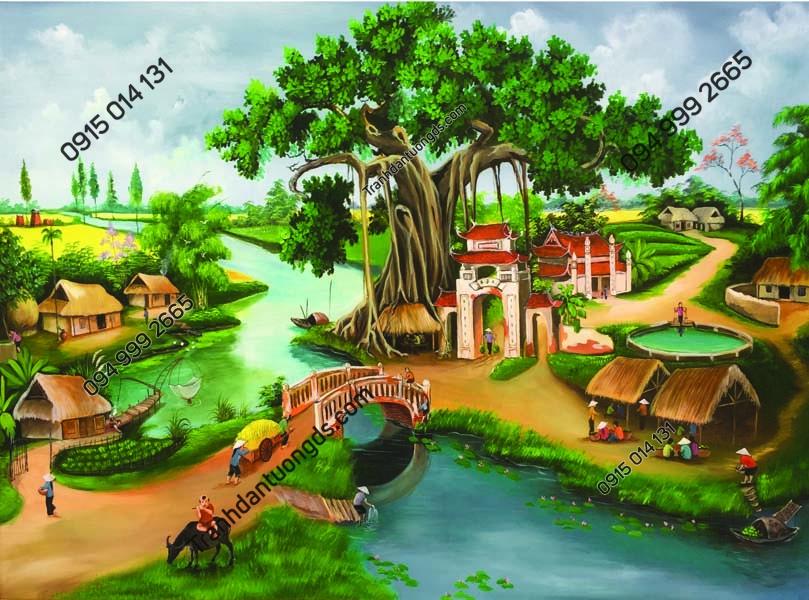 Tranh dán tường làng quê Việt Nam DQ21