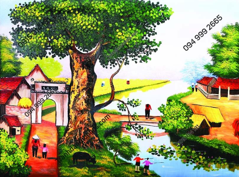 Tranh dán tường làng quê Việt Nam DQ27