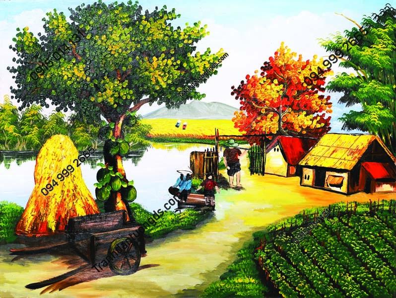Tranh dán tường làng quê Việt Nam DQ29