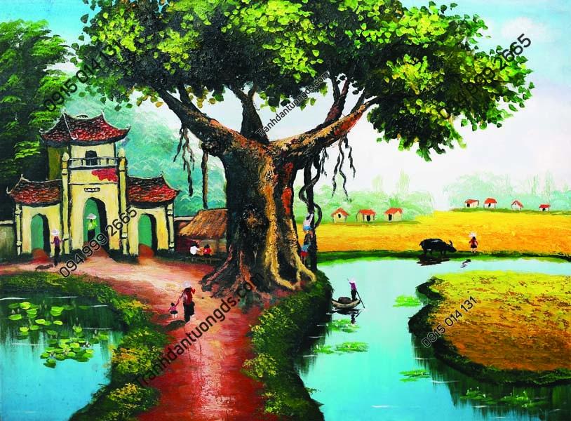 Tranh dán tường làng quê Việt Nam DQ30