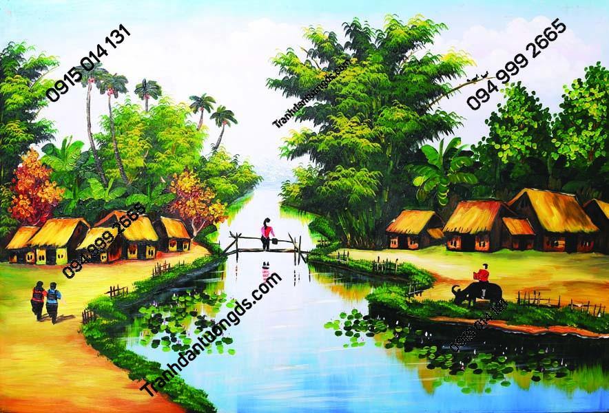 Tranh dán tường làng quê Việt Nam DQ32