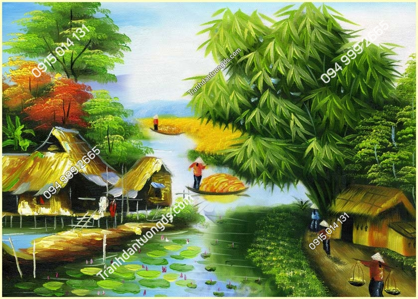 Tranh dán tường làng quê Việt Nam DQ43