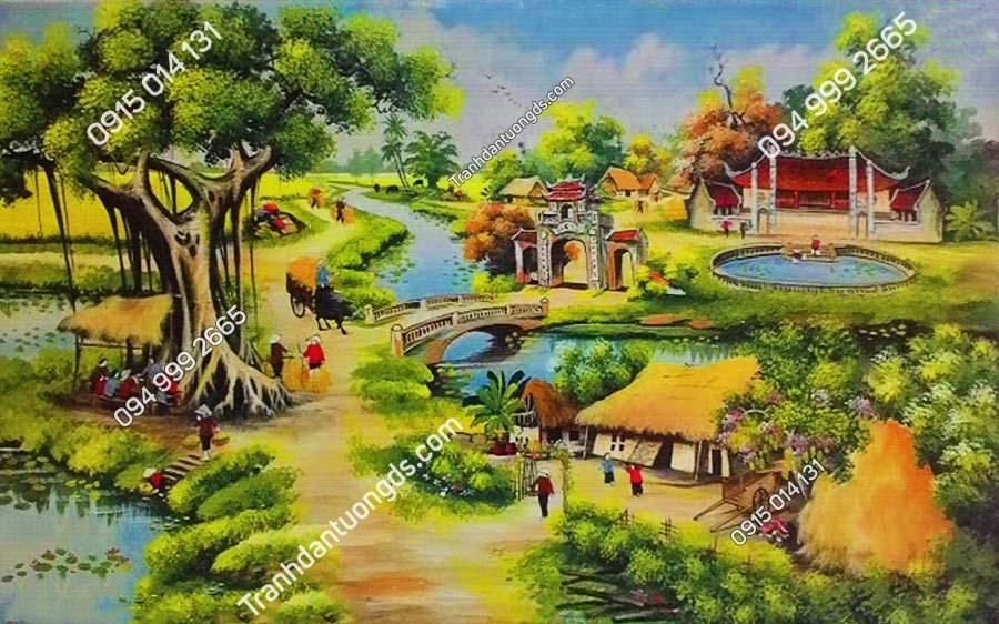 Tranh dán tường làng quê Việt Nam DQ72