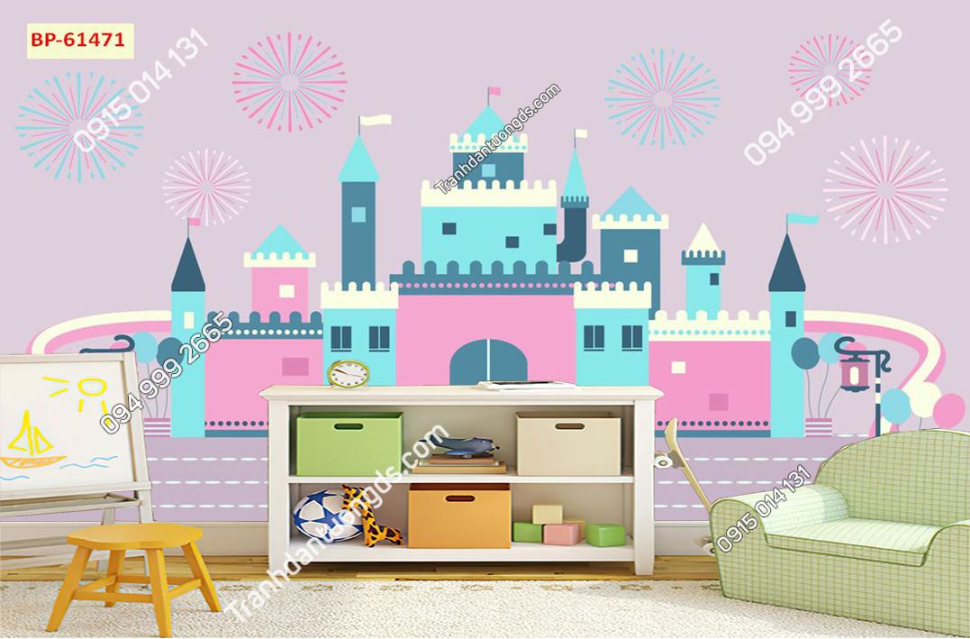 Tranh dán tường lâu đài trẻ em hiện đại 61471