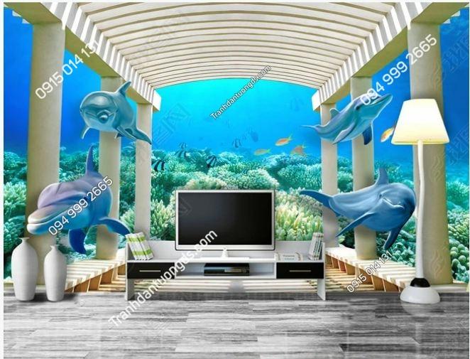 Tranh dán tường lối đi đại dương 3D DS_14057643