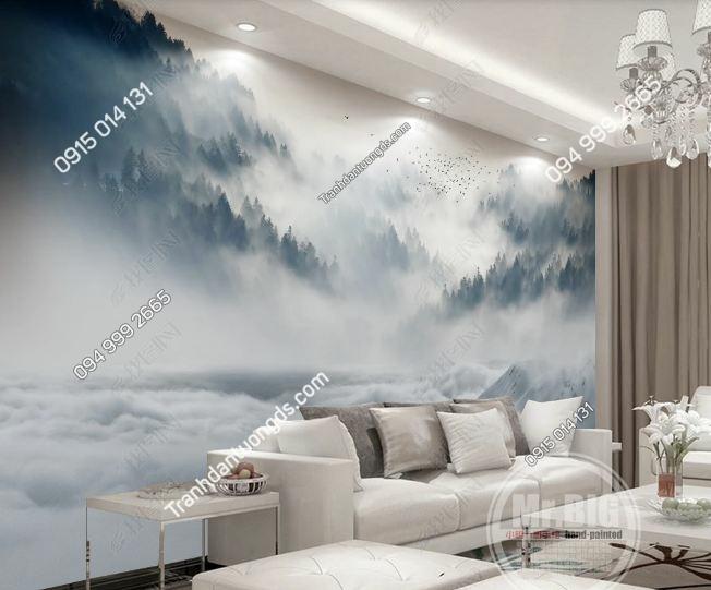 Tranh dán tường mây núi huyền ảo DS_16672140