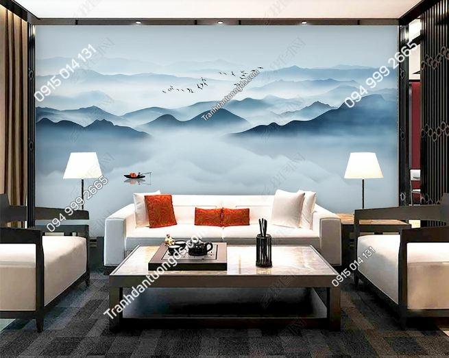 Tranh dán tường mây núi huyền ảo DS_17699940