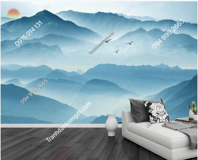 Tranh dán tường mây núi huyền ảo DS_17773540