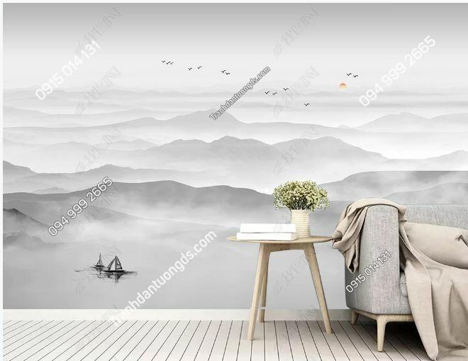 Tranh dán tường mây trời xám bạc DS_18871376