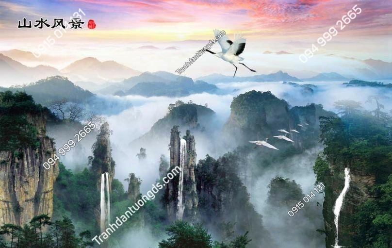 Tranh dán tường mây và núi hạc PT284