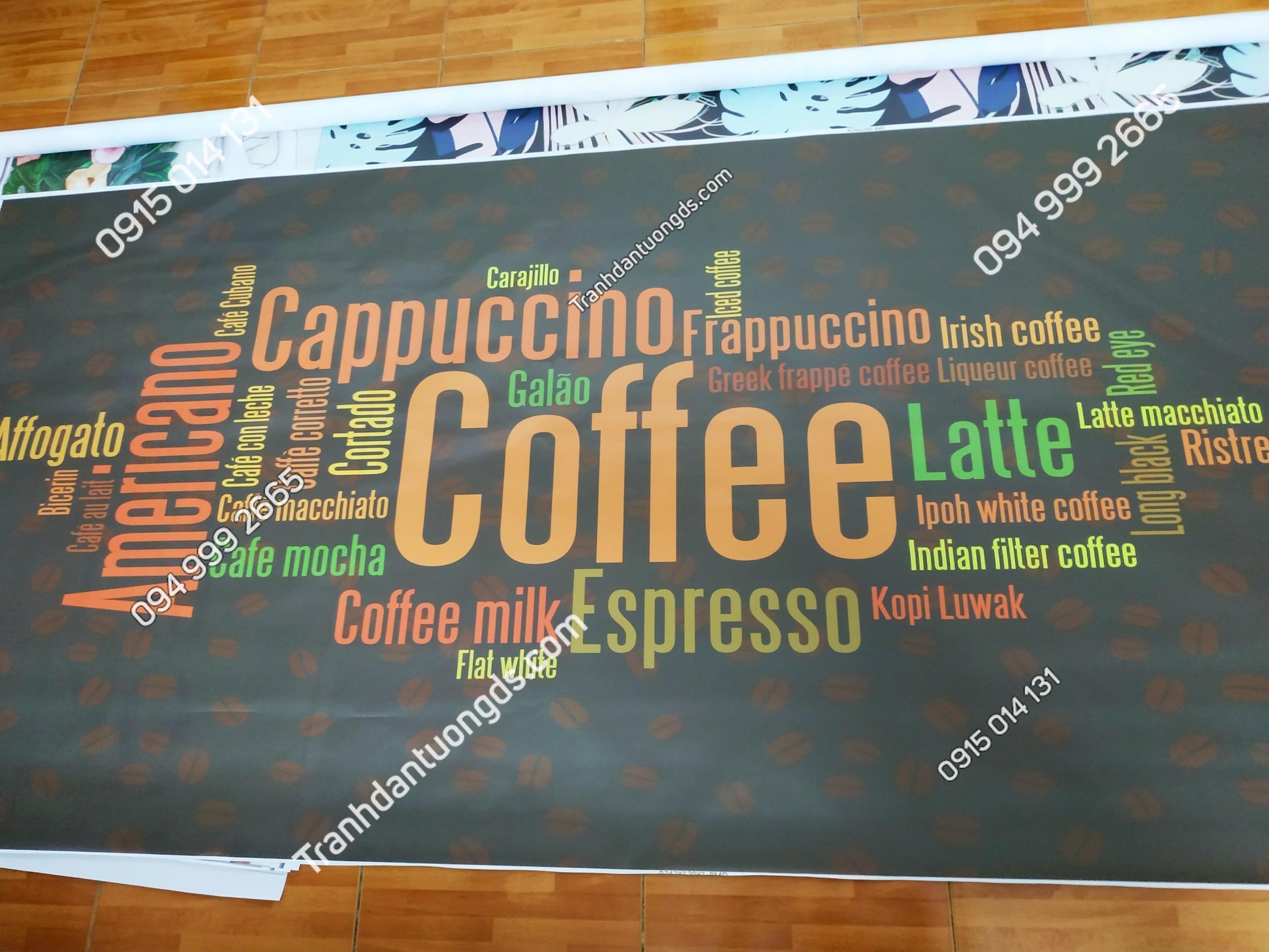 Tranh dán tường menu cafe