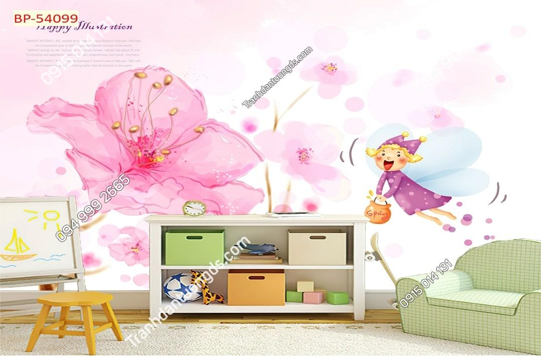 Tranh dán tường nàng tiên mùa xuân 54099