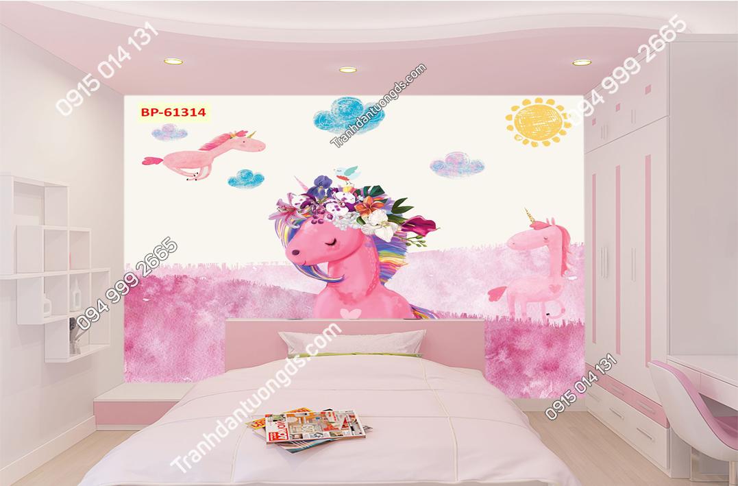 Tranh dán tường ngựa hồng trẻ em hiện đại 61314