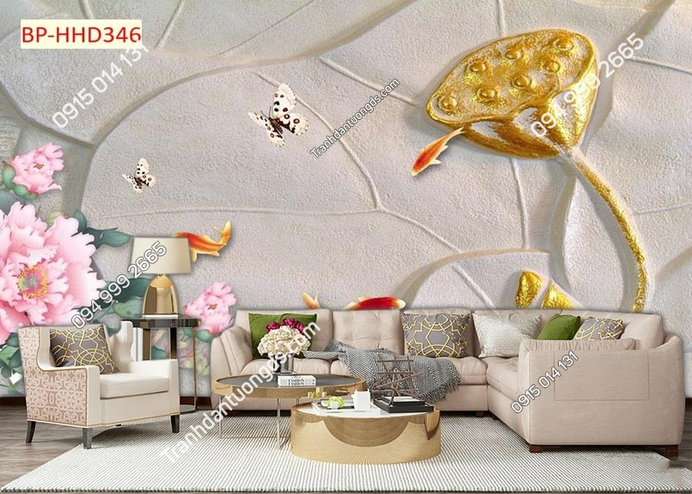 Tranh dán tường nhụy sen vàng 3D HHD346