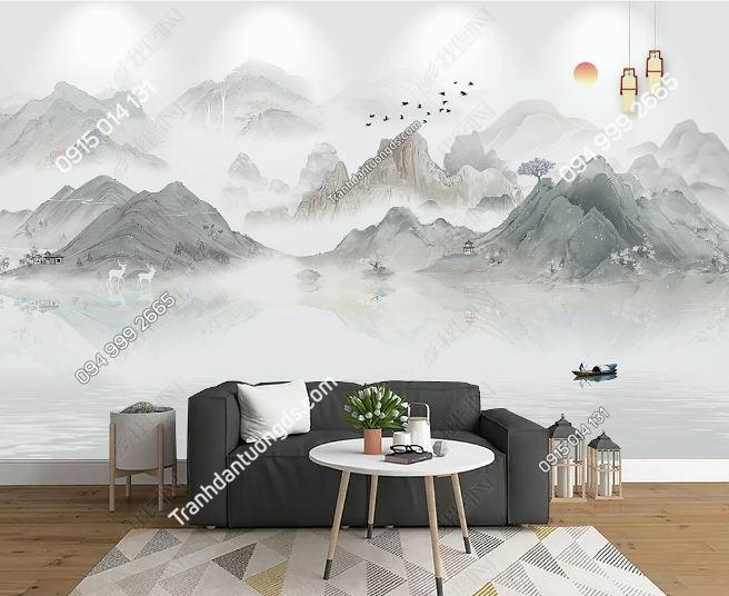 Tranh dán tường núi sông tịnh thiền DS_23883304