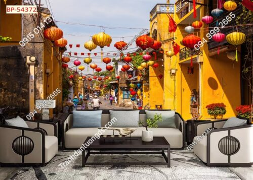 Tranh dán tường phố cổ Hội An dán phòng khách 54372