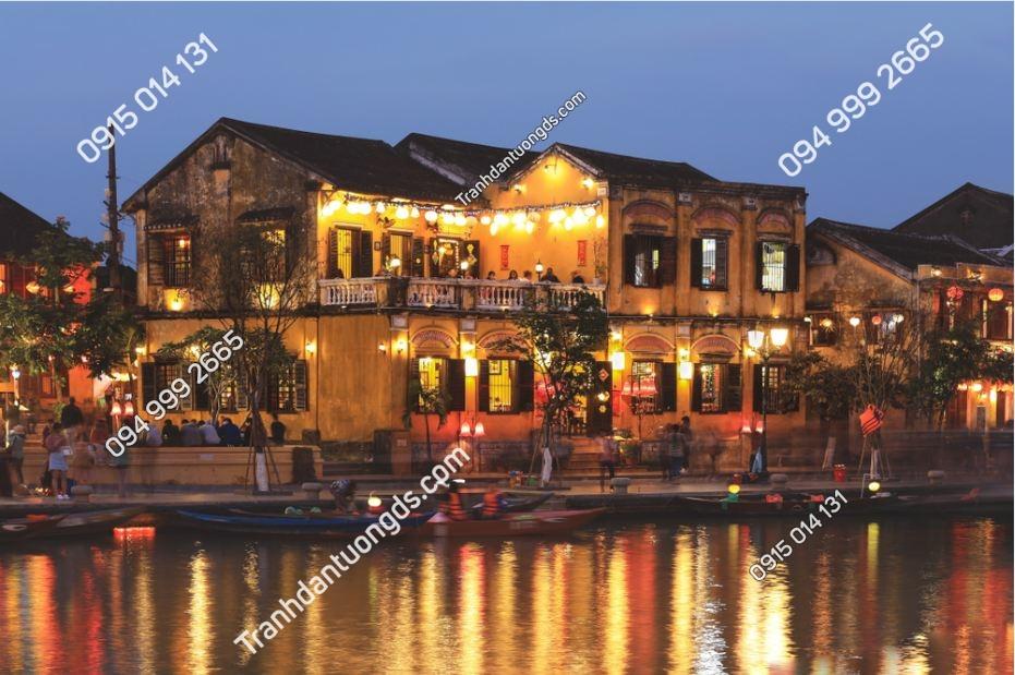 Tranh dán tường phố cổ Hội An về đêm 1026843451