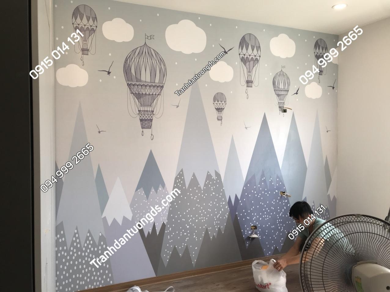 Tranh dán tường phòng bé họa tiết khinh khí cầu