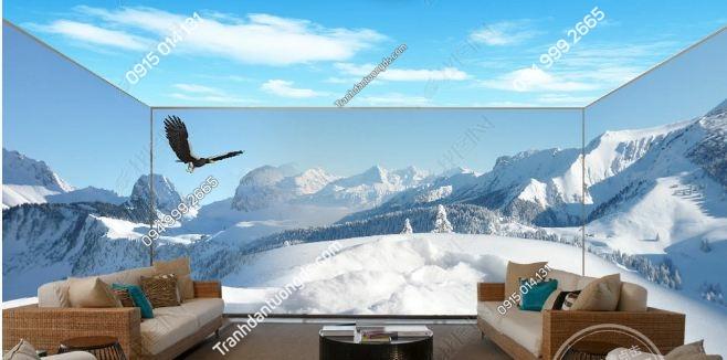 Tranh dán tường phong cảnh núi tuyết khổ dài DS_15632718