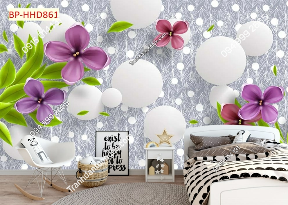 Tranh dán tường phòng ngủ hoa 3D màu tím HHD861