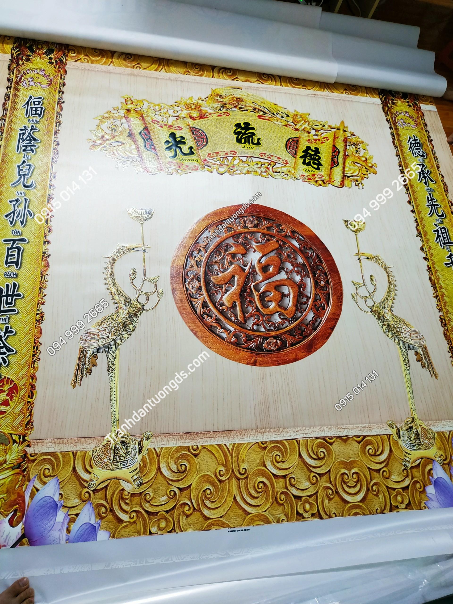 Tranh dán tường phòng thờ cuốn thư câu đối