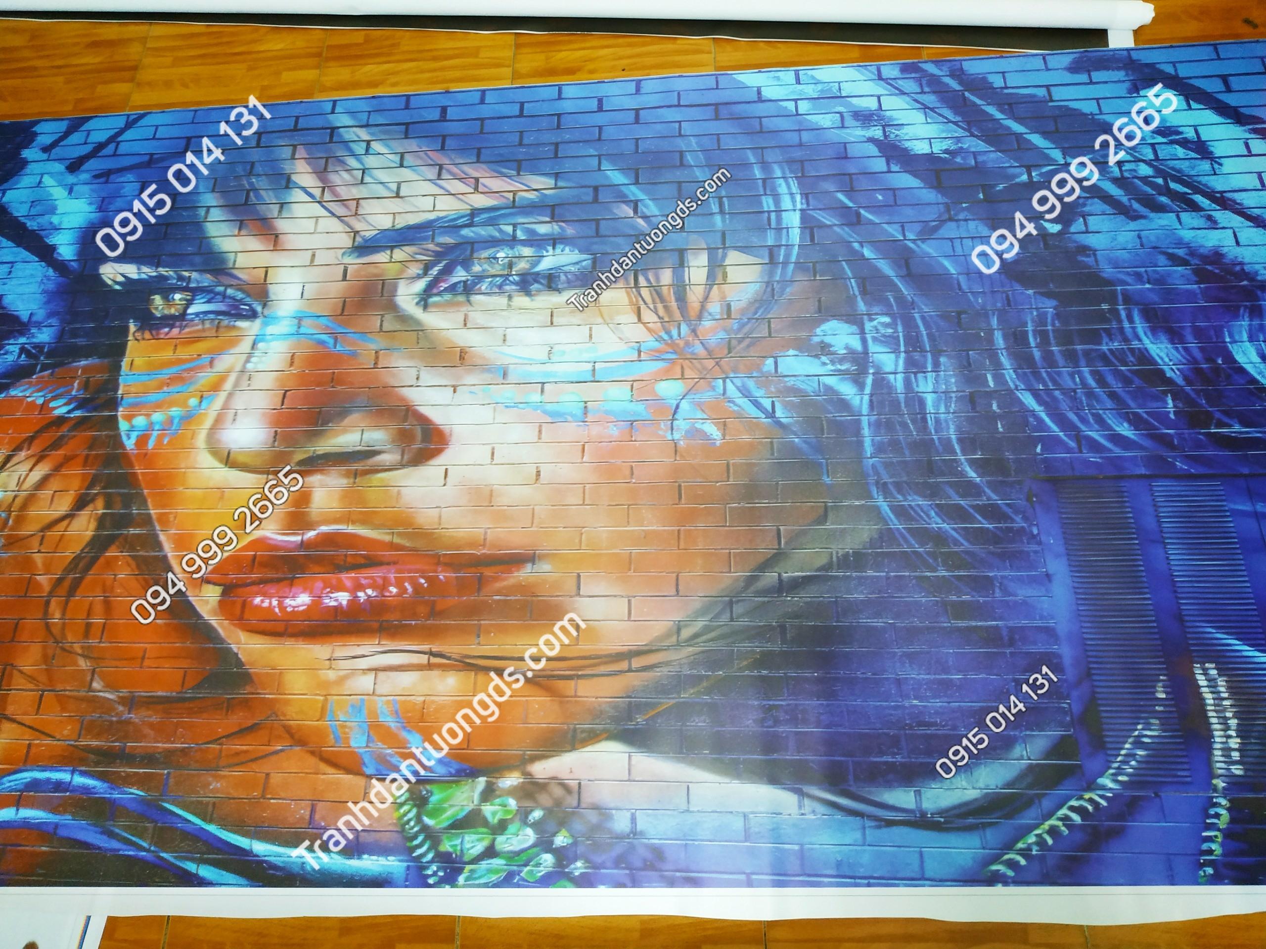 Tranh dán tường quán cafe hình cô gái