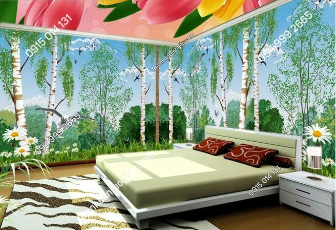 Tranh dán tường rừng cây bạch dương khổ dài DS_14453897