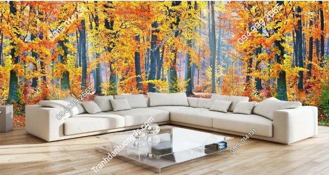 Tranh dán tường rừng lá đỏ khổ dài DS_15626421