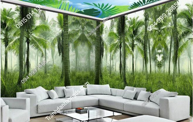 Tranh dán tường rừng nhiệt đới khổ dài DS_15491962