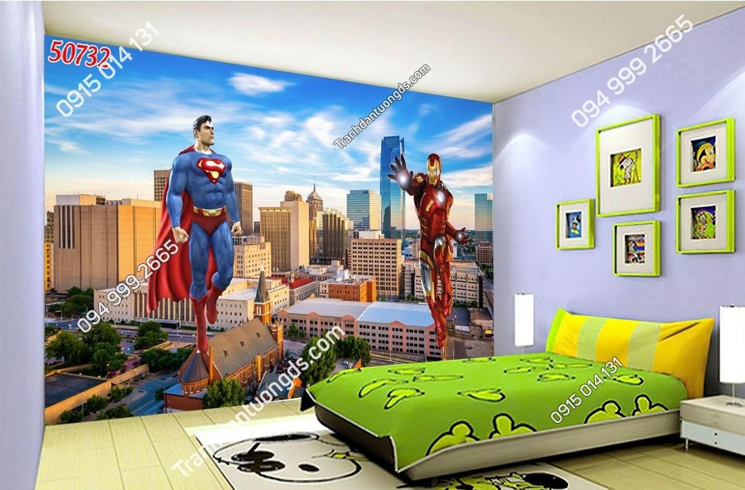 Tranh dán tường siêu anh hùng dán phòng ngủ bé trai 50732