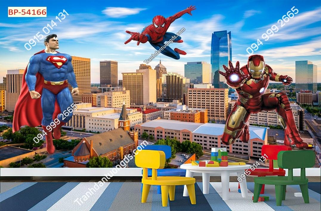 Tranh dán tường siêu anh hùng dán phòng ngủ bé trai 54166