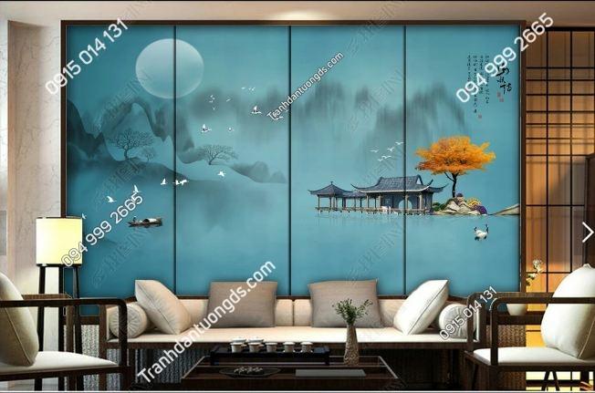 Tranh dán tường sơn thủy tịnh thiền DS_18554514