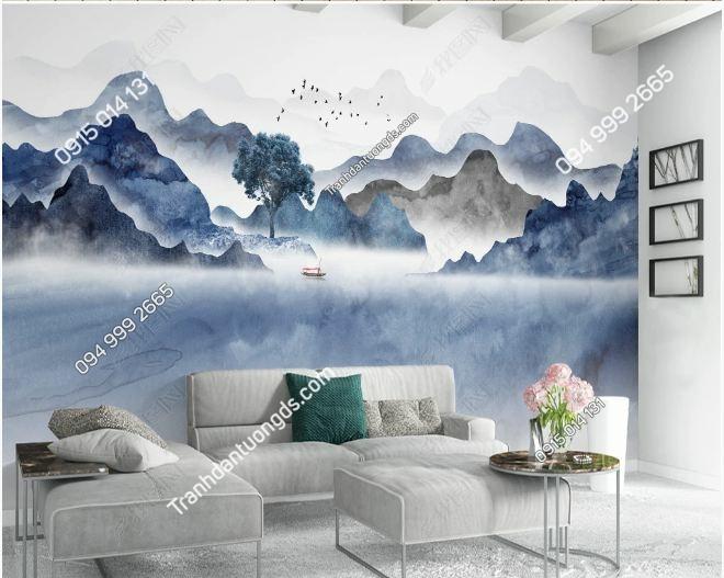 Tranh dán tường thâm sơn cùng cốc DS_23424278