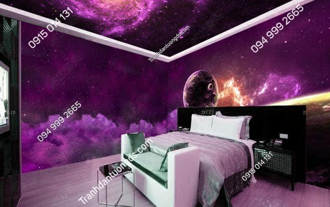 Tranh dán tường thiên hà tím khổ dài DS_17406362
