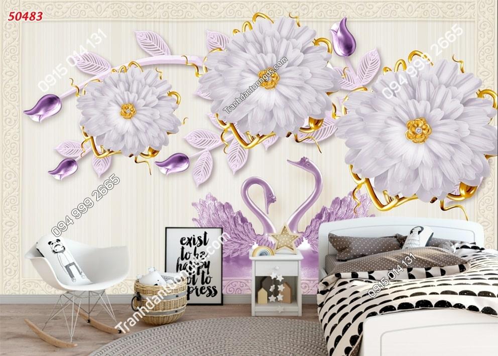 Tranh dán tường thiên nga tím và hoa 50483