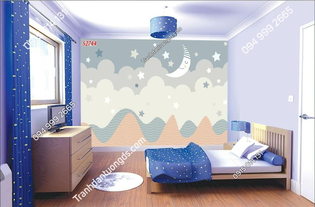 Tranh dán tường trăng sao phong trẻ em hiện đại 52744