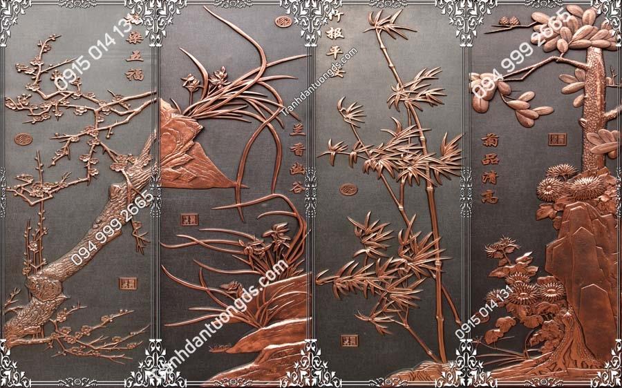 Tranh dán tường tứ quý kiểu khắc đồng TQ18