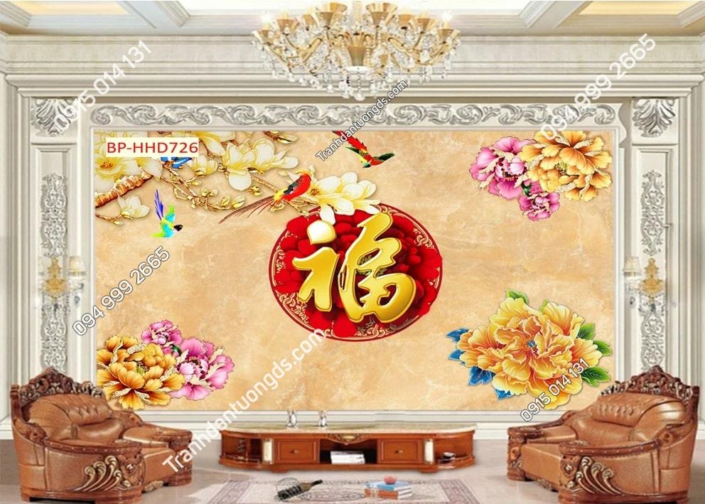 Tranh dán tường uyên ương hoa vàng HHD726