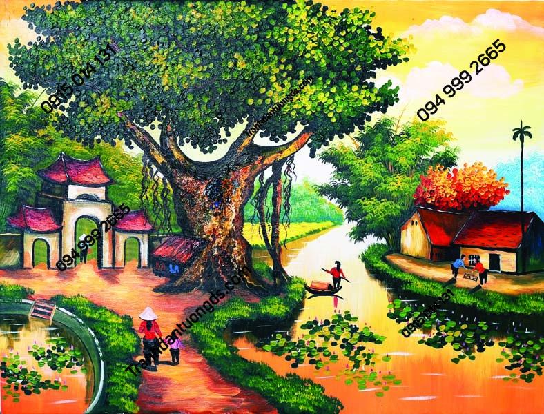 Tranh đồng quê cảnh cây đa sân đình