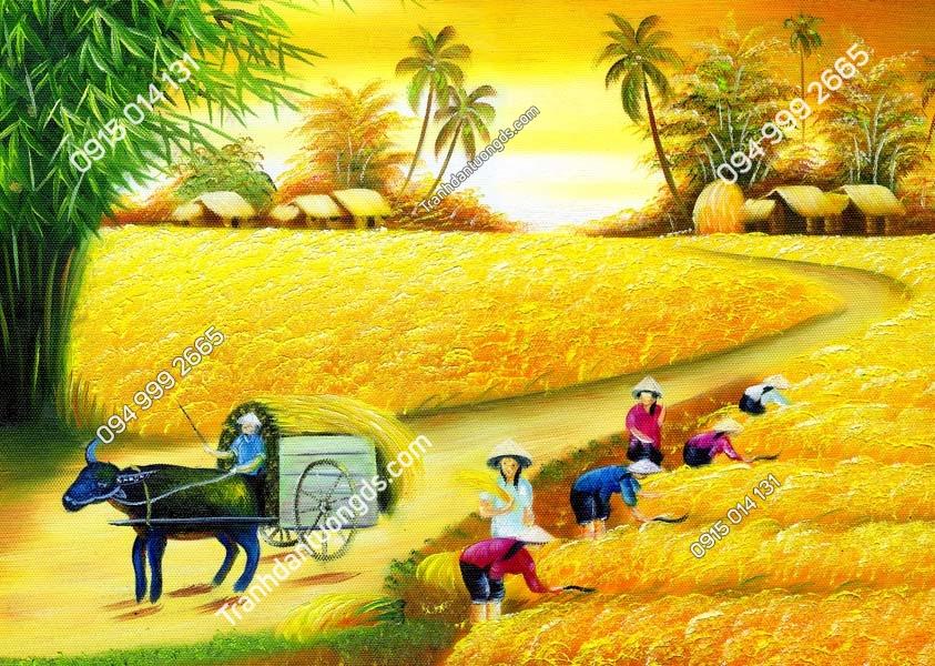 Tranh đồng quê đồng lúa