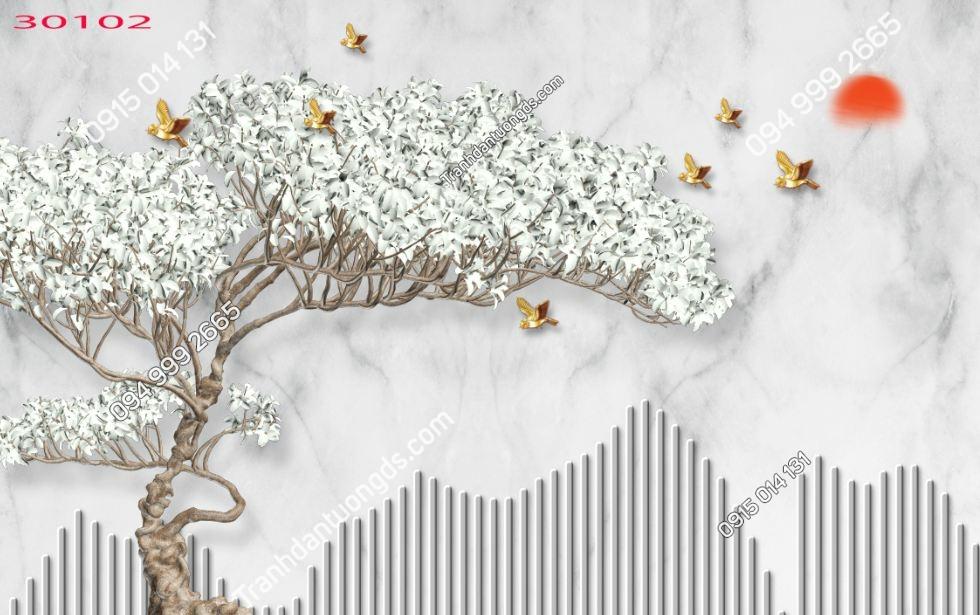 Tranh gốc cây hoa trắng và chim 30102