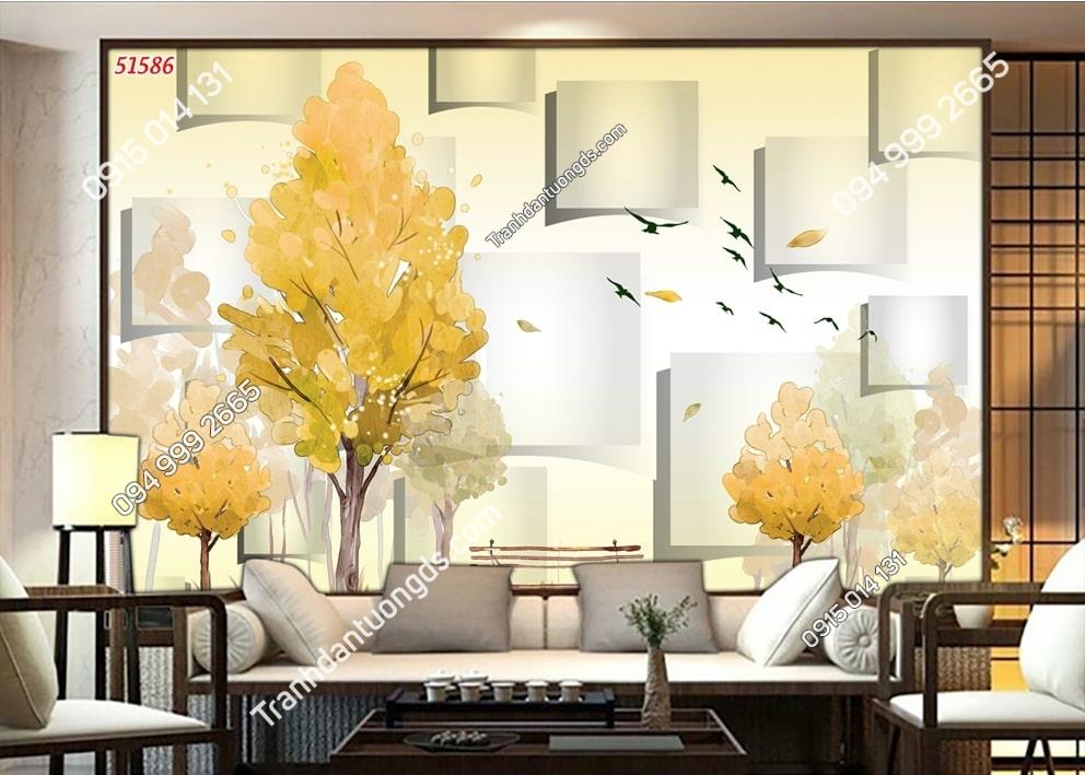 Tranh gốc cây vàng 3D 51586