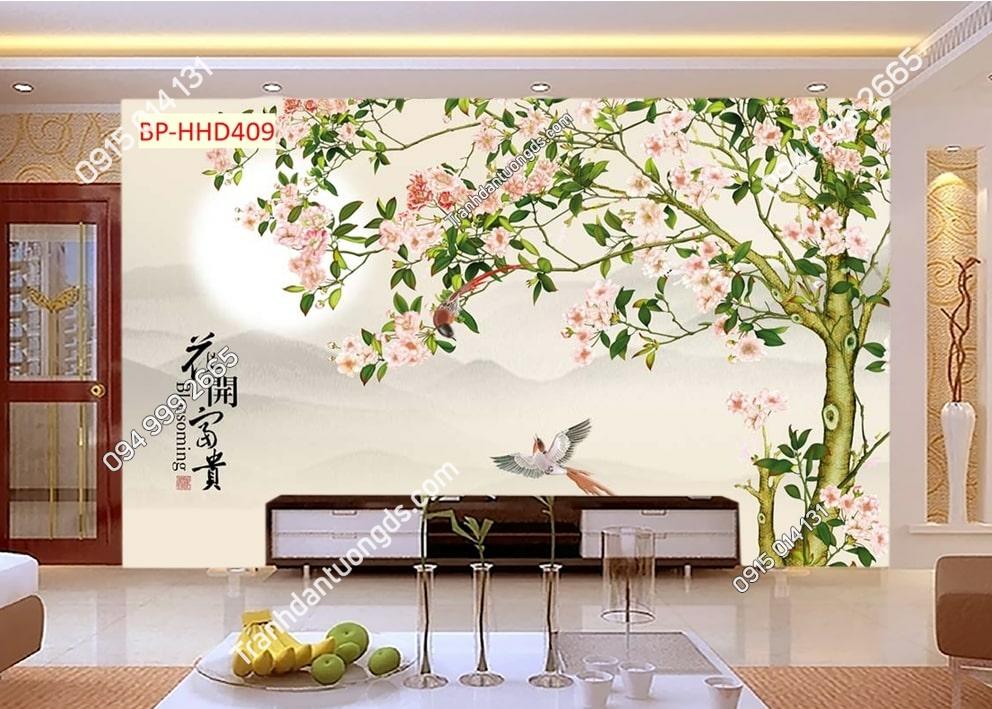 Tranh gốc hồng 3D dán tường HHD409