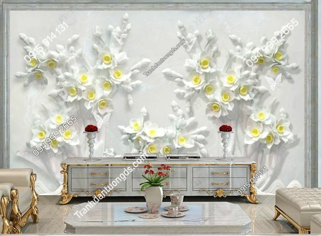 Tranh hoa 3D dán tường DS_20597224