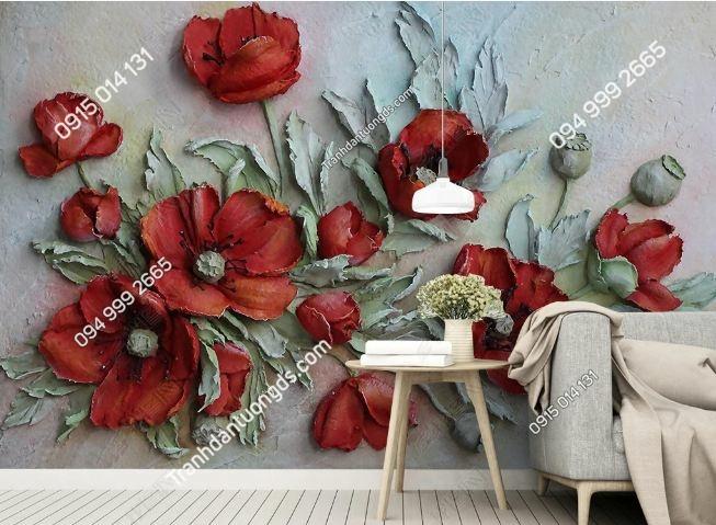 Tranh hoa 3D đỏ dán tường DS_18405133