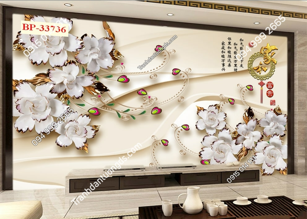 Tranh hoa 3D hiện đại 33736