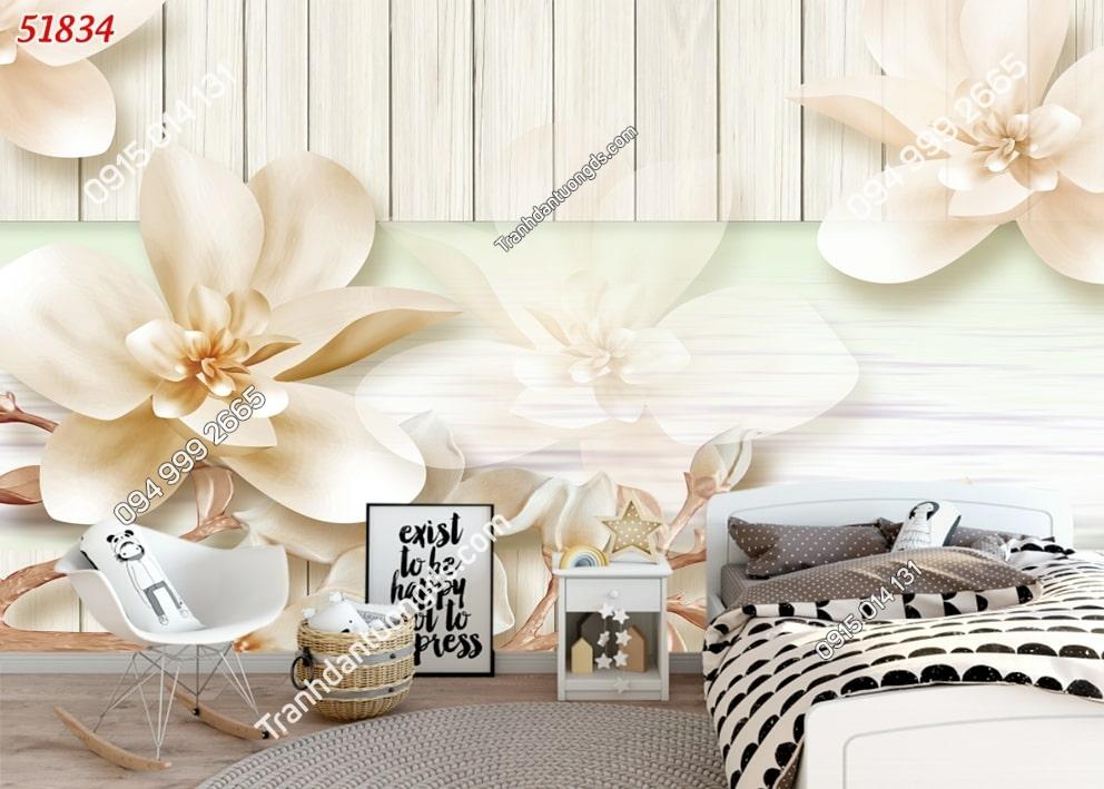 Tranh hoa 3D hiện đại dán phòng ngủ 51834