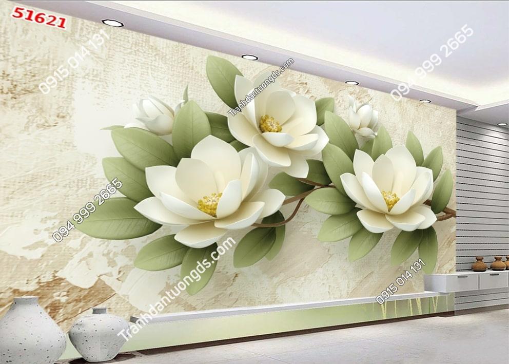Tranh hoa 3D hiện đại trắng xanh 51621