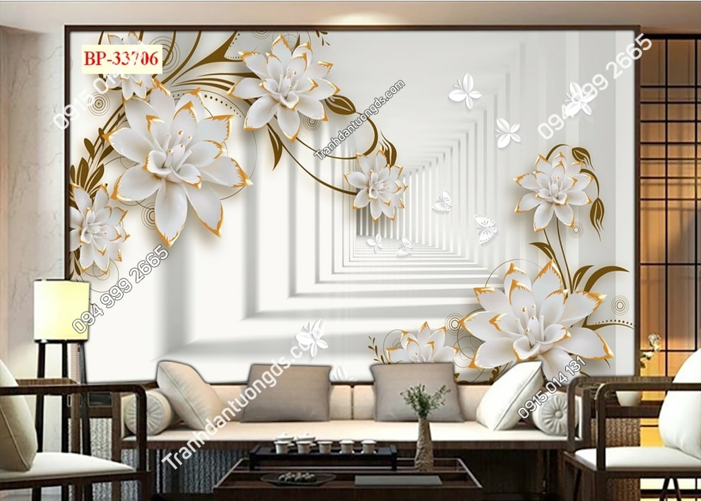 Tranh hoa 3D hiện đại và bướm 33706