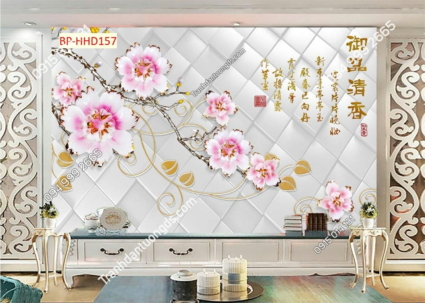 Tranh hoa 3D hồng HHD157